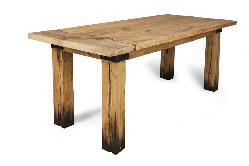 wooden table made with a planer