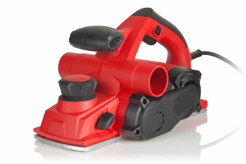 red powerful electric planer on white background